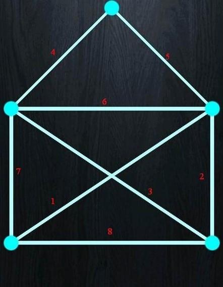 一笔画的走法有很多种,以下给出的解法只是其中之一,非标准答案图片