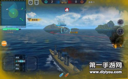 巅峰战舰辅助舰炮瞄准预判位置开火击中