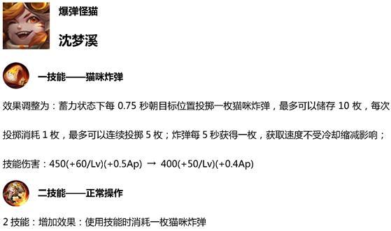 王者荣耀S15沈梦溪取消蓝条 可连续投掷5枚炸弹