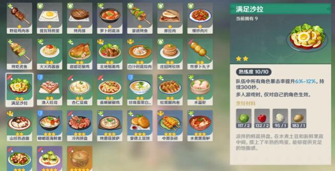 原神1.5新增食譜料理配方一覽